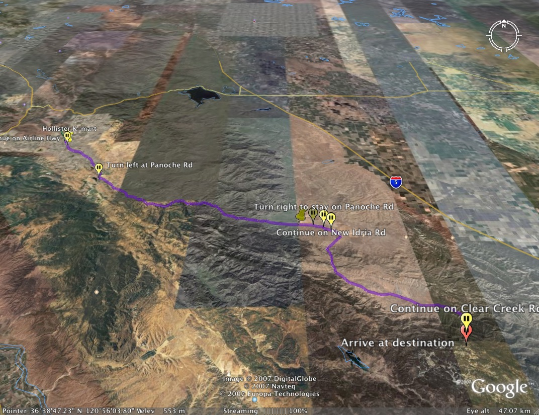Google Earth - Hollister to New Idrea