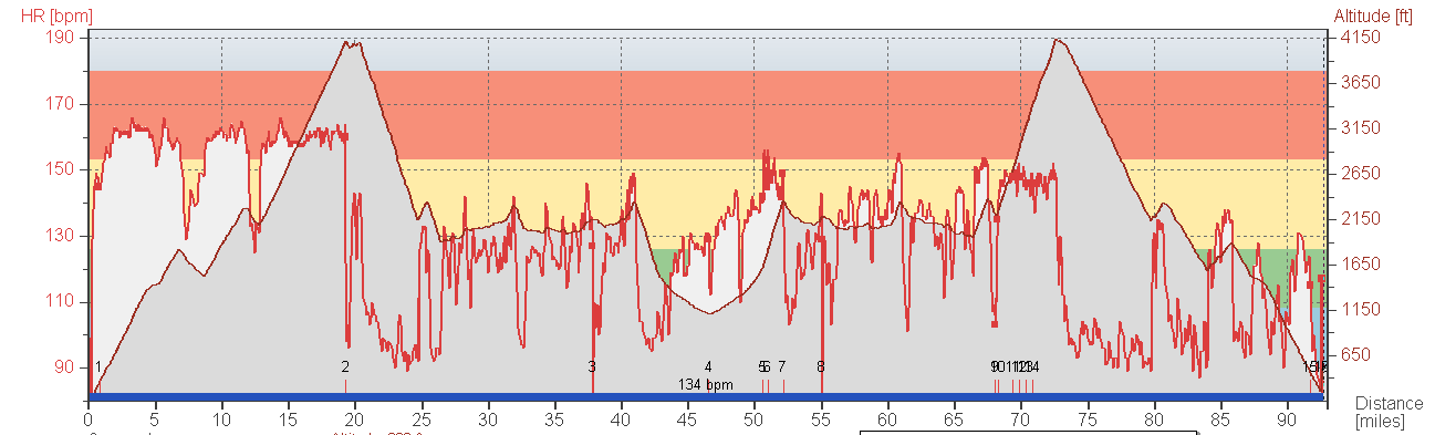 Cheesburgers at the Junction and Del Puerto Canyon heart rate curve