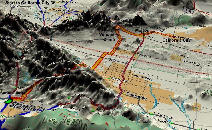 3D Map of Start to California City